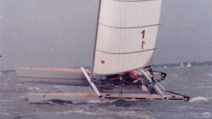 Selbstgebautes Segelboot Novacat 15 auf der Ostsee